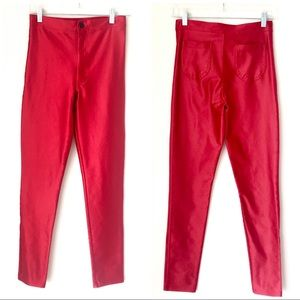 American Apparel Hot Red High Waist Skinny Pants